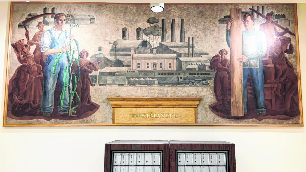 """""""Local Industry"""" by artist Jean Swiggett was painted to hang in Franklin's post office in 1940. The mural was part of a New Deal program to support artists and beautify government buildings. The mural has been moved to Franklin's new post office building.  RYAN TRARES 